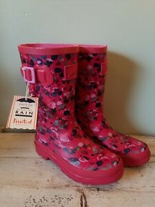 Joules Women's Welly Print Rain Shoe Boots, True Pink Floral, size 3