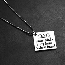 DAD My Hero Best Friend Necklace Pendant Father's Day Gift JEWEL