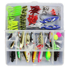 101PCS Trout Bass Salmon Fishing Lure Set Kit Soft & Hard Baits Tackle Set