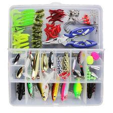 101PCS Trout Bass Salmon Fishing Lure Set Kit Soft & Hard Baits Tackle Set