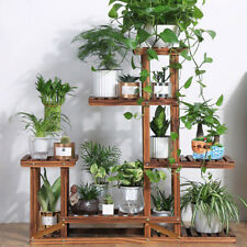 Rustic 6 Tier Wooden Step Shelf Stand Plant Flower Shelving Unit Indoor Outdoor
