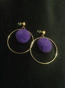Vintage Style Purple Dangly Pom-Pom Hoop Earrings. Women's Pom Pom Jewellery
