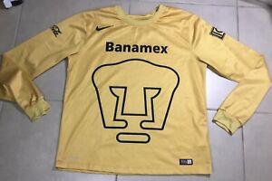 Men's 2014 Nike Pumas UNAM longsleeve Size M gold soccer jersey futbol mexico