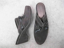ECCO Brown Suede Platform Arched Wedge Clogs Mules w/ Tassel Bow 41 US 10.5 M