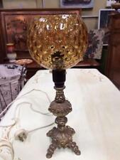 vintage retro Italian amber Glass shade & gold cast metal mayfield lamp