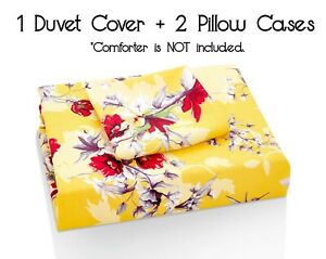 DaDa Bedding Sunshine Yellow Hummingbirds Floral Duvet Cover Set w/ Pillow Cases