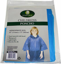 pour enfants bleu imperméable Vinyle Plastique poncho avec capuche -