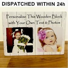 """7x5"""" personalised wooden family photos text block friendship birthday wuote gift"""