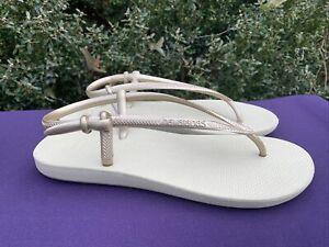 HAVAIANAS Slingback Gold UNIQUE DESIGN Sandals Clogs Womens 9 10 39 40  ❤️sj8m5