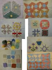 Vtg Quilt Pieces Complete Partial Cut Pieces Variety Patterns