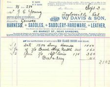1894 Invoice from W. DAVIS & SON - Mfg. of HARNESS, SADDLES, LEATHER - Calif.
