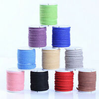 Lots 3/100Meter Genuine Leather Flat Suede Velvet Cord Thread Craft Making 3MM