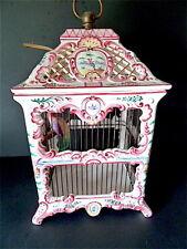 Lustre Lampe Cage Oiseaux Faïence ceramique  Romantique Rocaille St Louis XV