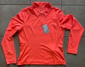 Nike Golf Women's Polo Top Shirt-L/S Sport Performance Tech-UV-Orange-Medium-NWT