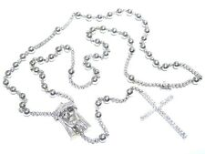 Mens 14k White Gold 6.50ct Round Cut White Diamond Jesus & Cross Rosary Chain