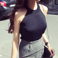 Women Slim Knitting Halter Neck Off-shoulder Cropped Tank Tops Knitted Camisole