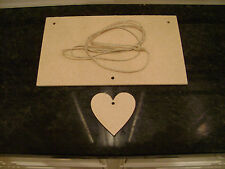 "7"" x 4"" MDF Wooden Plaque Sign Blank Craft Shapes with hanging Heart + string"