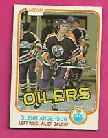 1981-82 OPC # 108 OILERS GLENN ANDERSON ROOKIE EX+ CARD (INV# D1337)