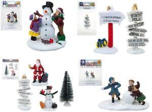 Miniature Christmas Village Scene Resin People Santa Snowman Children Multipack
