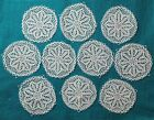 10 Vintage White Floral Lacy Doilies Scalloped Edge 5.5 inch Doily Lot Craft