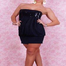 2288 - Black sequin chest strapless stretch bandeau long top / mini dress 10/12