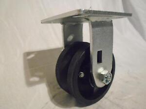 "4"" x 2"" Rigid Caster 7/8""  V-Groove Iron Steel Wheel 600lbs"