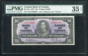 BC-24a 1937 $10 BANK OF CANADA BANKNOTE PMG CHOICE VERY FINE-35EPQ *SCARCE*
