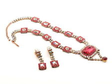 Vintage Czech handcrafted red AB clear glass rhinestone necklace earring set