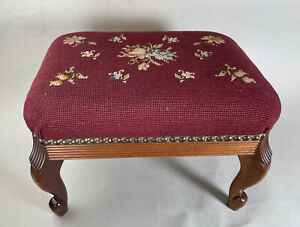 Riverdale Cabinet Shop Needlepoint  Stool With Nail heads Made In USA