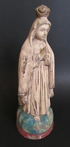 """Folk Art Wood Hand Carved & Painted Praying Figure/Mary Pink & Blue 13"""""""