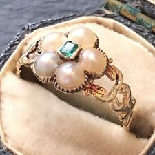 & Emerald Cluster Ring Antique Georgian Gold Pearl