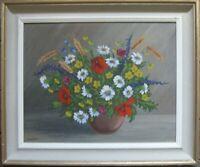 Dipinto a Olio Natura Morta Wiesenblumen Antico Telaio Vintage Firmato Schmidt?