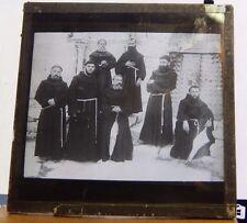 Antique Glass Slide Franciscan Monks   magic Lantern Slide