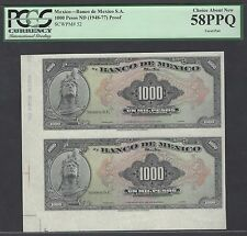 Mexico 1000 Pesos ND(1948-77) P52p Uncut sheet Proof About Uncirculated