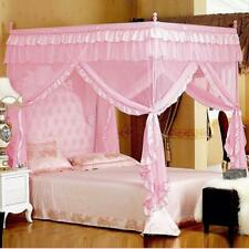 Princess Lace Bed Canopy Mosquito Net Poster Ruffles Pink Girls 4 Corner Full