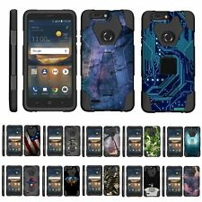 For ZTE Blade X2 Max Dual Layer Hybrid Shell Kickstand Fitted Case Cover