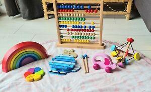 Wooden toys bundle newborn baby sensory rainbow xylophone abacus Peter Rabbit