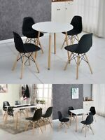 Dining Table and Chairs 4 Set Wooden legs Retro dining Room Chair Kitchen black