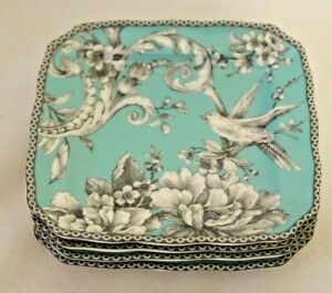222 Fifth Adelaide Turquoise Floral Square Appetizer Plates Set of Four New