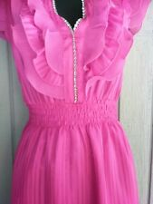 Oh Yes Teenage lightweight Pink Shear Ruffle front dress bling sleeveless A-line