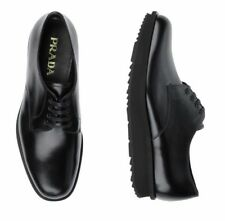 NEW PRADA Men's Black Leather Oxfords US Size 10.5 UK Size 9.5 EU Size 43.5