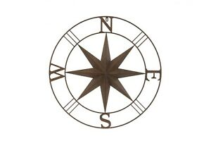 Large Rust Metal Wall Compass