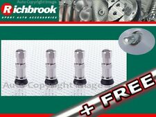 Richbrook Bolt In Nickel Plated Brass Car Wheels Wheel Valves Set Of 4 + Free