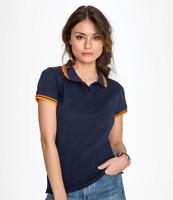 SOL'S Ladies Pasadena Tipped Cotton Piqué Polo Shirt