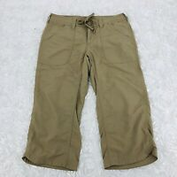 The North Face Cropped Nylon Pants Womens SZ 2 Drawstring Waist Hiking Tan