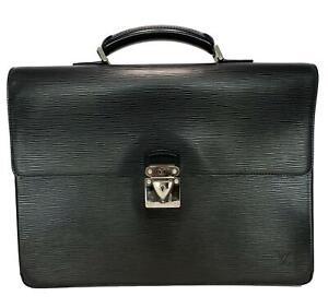 LOUIS VUITTON BLACK EPI LEATHER 'ROBUSTO' COMPARTMENT BAG BRIEFCASE, $3700