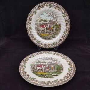 Myotts Country Life Hand Engraved Country Scenes 10 inch Dinner Plates x 2