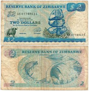 Zimbabwe $2 P#1c (1980-94) Reserve Bank of Zimbabwe VF