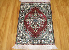 2' X 3' Small Classic Turkish Natural Pure Silk Carpet Hand Woven Burgandy Ivory