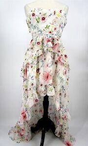 Aqua Luxe Strapless Ruffled Floral Hi-Low Back tie Maxi Dress Medium New 3302